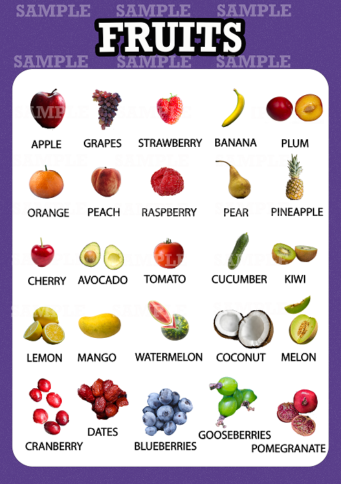 Fruits Educational Pre School Poster For Kids Learning A3 A4 Ebay